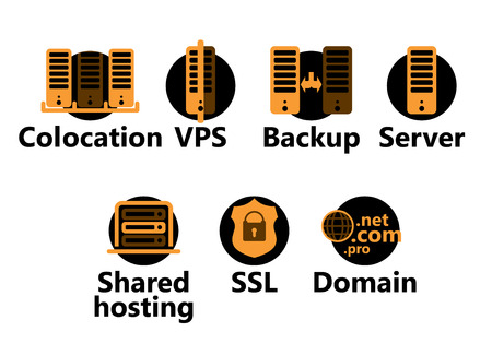 web hosting: technologic icons set - yellow