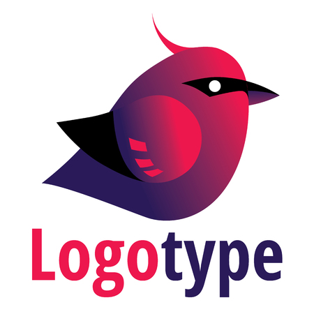 violet red: Bird logo - red and violet corporate identity template