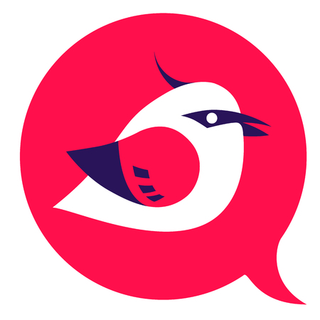 twit: Bird logo - red and violet icon twit sign