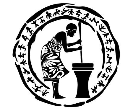 hombre pintando: Tribal vector mujer, ejemplo, sello tatuaje africano Vectores