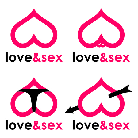 Sex shop hearts collection Фото со стока - 58474035