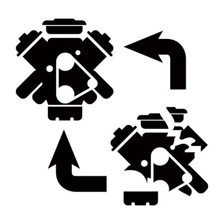 Car service - engine repair icon 向量圖像