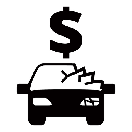 auto service: Car service - broken auto accident repair icon Illustration