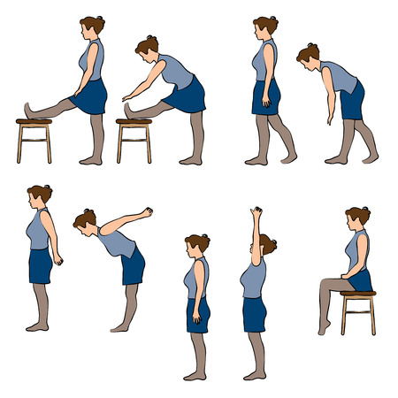 Office excercises poses set Иллюстрация