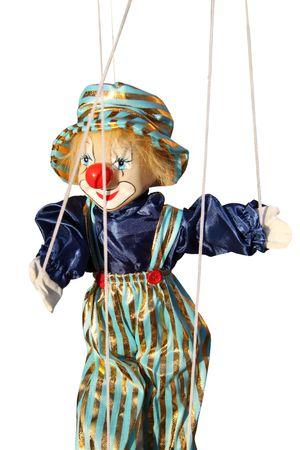 marionetta: Pagliaccio giocattolo con naso rosso. Marionetta su una stringa