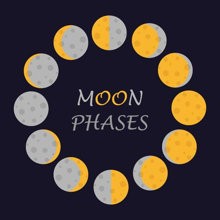 Vector cute moon phases. All moon phases on one picture.
