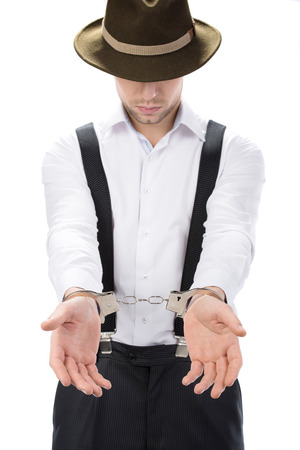 Police law steel handcuffs arrest crime human hand Stock Photo - 26329393