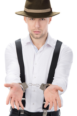 Police law steel handcuffs arrest crime human hand Stock Photo - 26329399