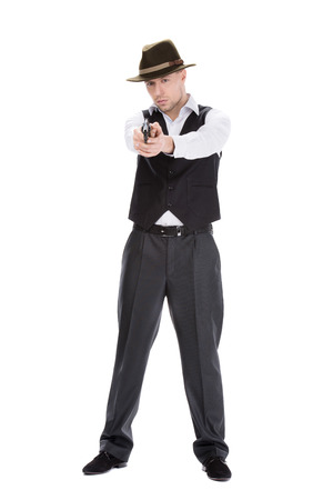 Gangster with guns isolated on white background photo
