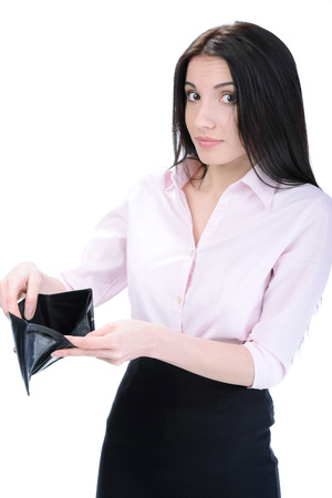 petty theft: Portrait of an attractive young surprised woman holding an empty wallet, isolated on a white background.