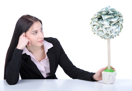 grow money: Young beautiful woman business grow money tree on white background