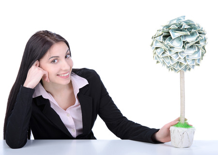 moneymaker: Young beautiful woman business grow money tree on white background