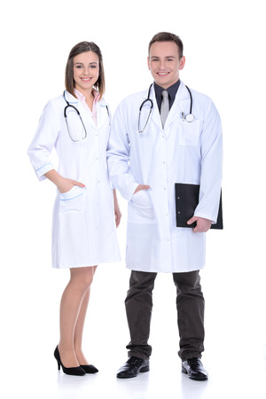 male and female: Male & female medical doctors isolated on white Stock Photo