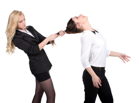 women fighting: Women fight  Two women fighting while isolated on white Stock Photo
