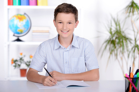 Portrait of a school child, making learning during lesson at school photo