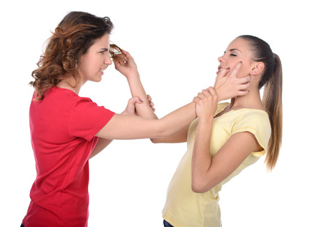 Women fighting. Two furious women fighting while standing isolated on white photo