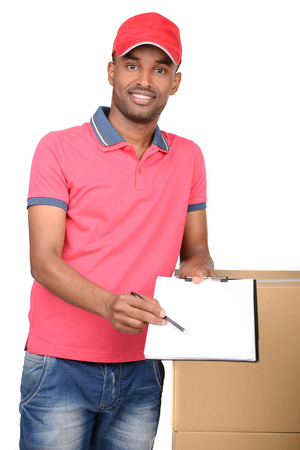 African american delivery man carrying parcel and presenting receiving form photo