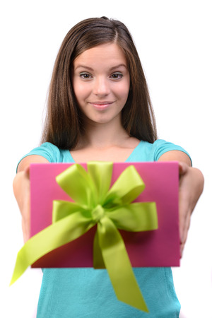 Picture of beautiful girl with gift box, isolated white background photo