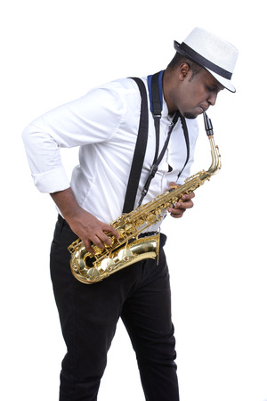 Saxophonist black men in white shirt. Isolated on white background