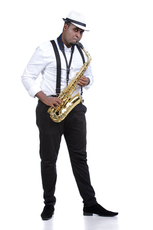 african sax: Saxophonist black men in white shirt. Isolated on white background