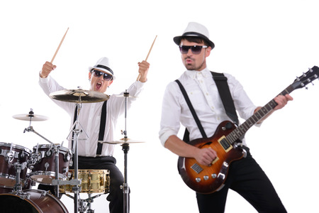 Band of musicians with instruments. isolated on white background photo