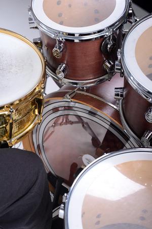 cymbal: Drum kit isolated on white background. studio shot