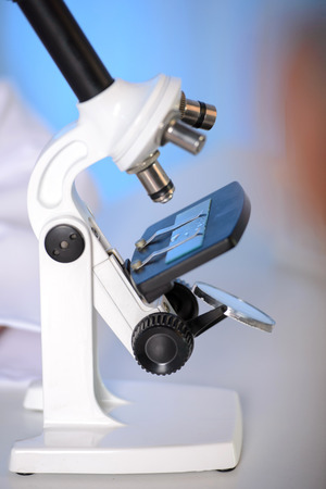 analytical chemistry: Laboratory Microscope. Scientific and healthcare research background.