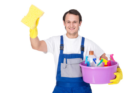 cleaning services: Portrait of man with cleaning equipment, isolated over white background.