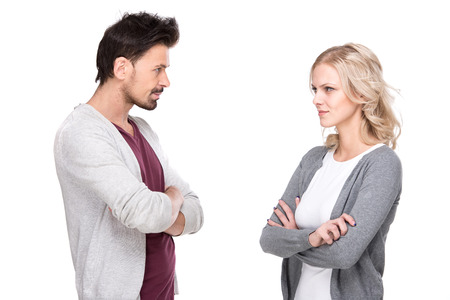 Conversation between a man and a woman, isolated on white background.