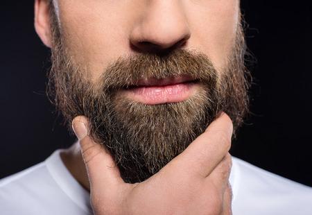 Beard man. Close-up a man with long beard and mustache. Archivio Fotografico