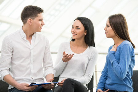 Meeting of support group, group discussion or therapy. Stock Photo
