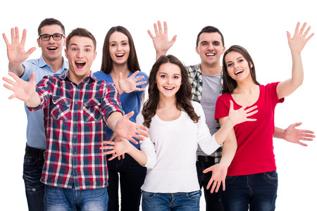 Education and people concept. Group of smiling, happy students are standing on white background.