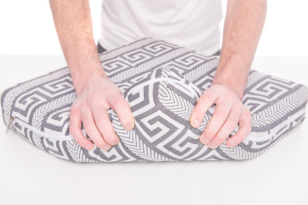 sleep well: Hands of man with nice mattress that supported you to sleep well all night.