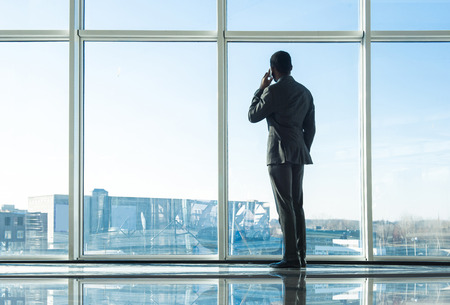 talking businessman: Back view of young businessman is looking out of a panoramic window and talking by phone.