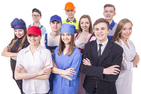 happy worker: Young group of industrial workers. Isolated on white background. Stock Photo