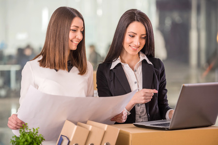 proffesional: Two adult businesswomen planning out their new office space. Stock Photo