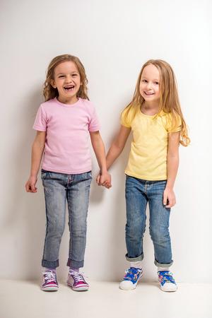 cute little girls: Mejores amigos. Dos ni�as lindas en fondo gris. Foto de archivo