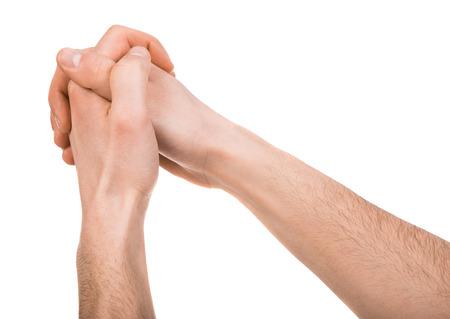 orando manos: Imagen de manos humanas aisladas sobre fondo blanco.
