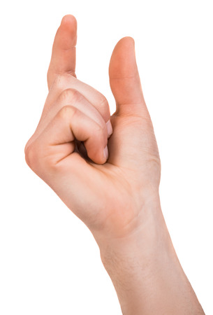 tact: Mans hand gesturing a small amount, isolated on white. Stock Photo