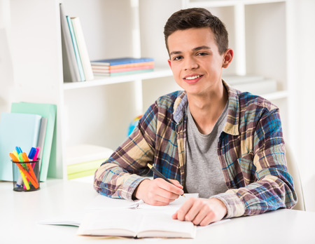 boy book: Young smiling boy sitting at the table and doing homework at home. Stock Photo