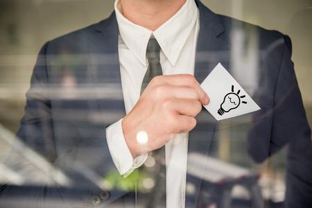 new idea: New idea concept. Man holding a good idea.