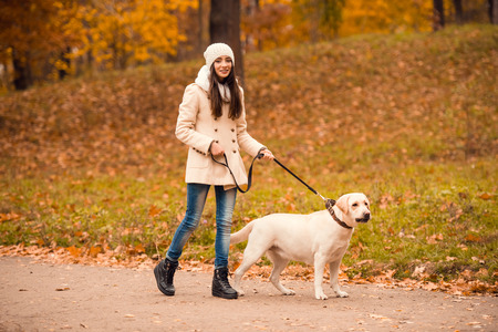 dog owner: Portrait of a beautiful young woman with her dog while walking in the autumn park
