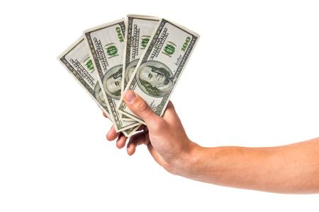 to cash: Hombres lado la celebración de dinero en efectivo aislado en un fondo blanco