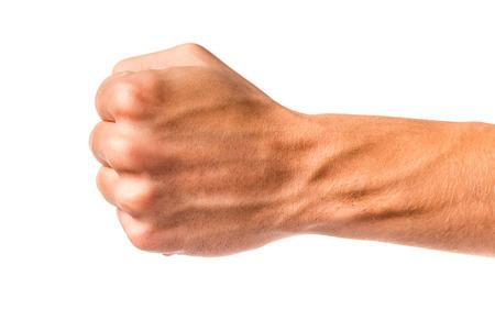 Signe de la main Homme isolé sur un fond blanc