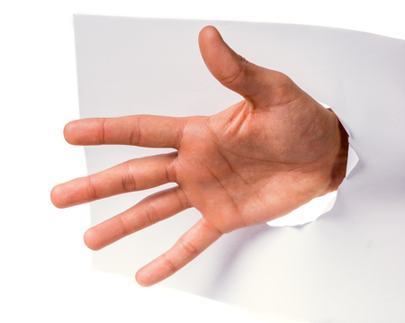 Male hand over paper sign isolated on a white background