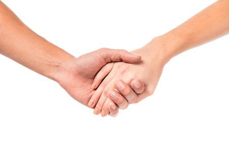 cogidos de la mano: Las parejas jóvenes muestra de la mano, aislados en un fondo blanco