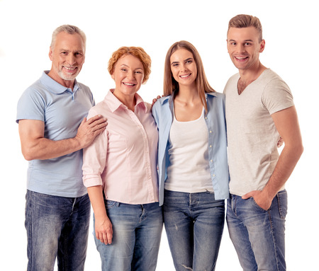 caucasian white: Portrait of happy two generations of families are looking at camera and smiling, isolated on white Stock Photo
