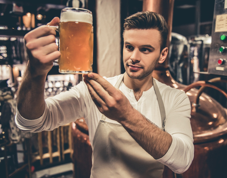 Handsome bartender in apron is examining pitcher of beer while standing in brew house