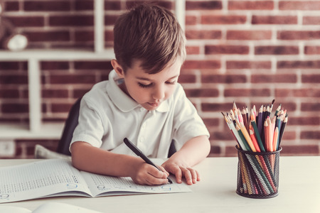 De leuke kleine jongen schrijft en glimlacht terwijl thuis het spelen
