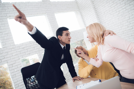 A couple of old people came to a consultation with a broker. They argue with a broker, and the broker drives them out of his office. They strongly swear.